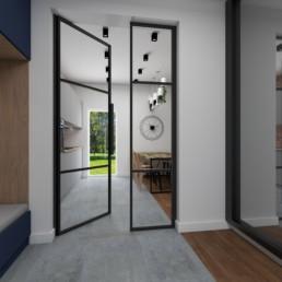 drzwi przeszklone do holu, loftowe